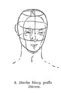 Kreslenie ľudskej hlavy Model hlavy pod  a Durera