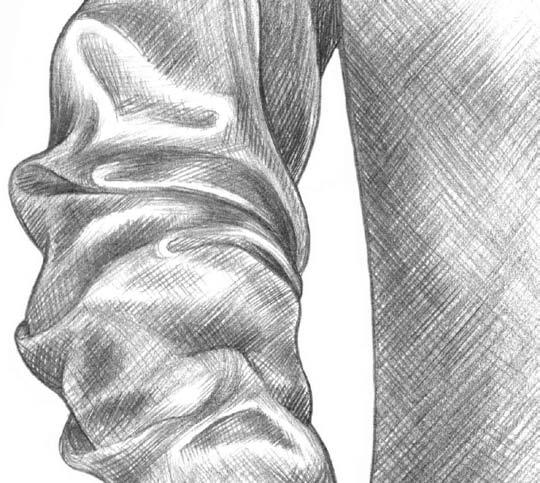 Kreslenie rukávu 10 kreslenie realistickej textílie Kreslenie realistickej textílie. Kreslenie ruk  vu 10