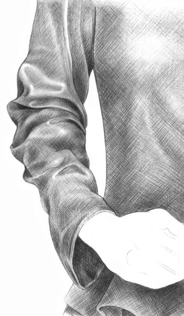 Kreslenie rukávu 11 kreslenie realistickej textílie Kreslenie realistickej textílie. Kreslenie ruk  vu 11