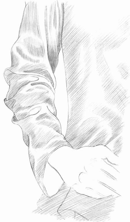 Kreslenie rukávu 8 kreslenie realistickej textílie Kreslenie realistickej textílie. Kreslenie ruk  vu 8
