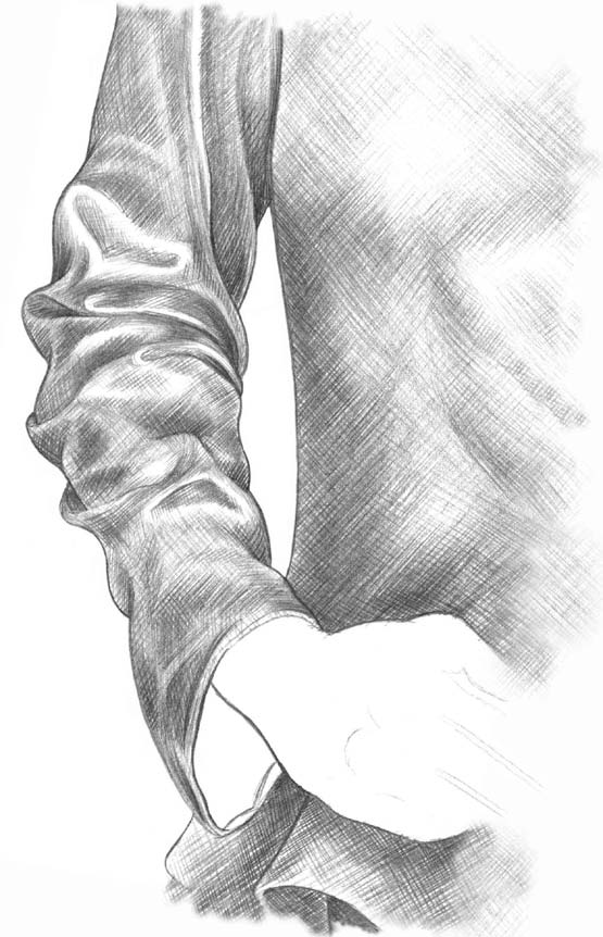 Kreslenie rukávu 9 kreslenie realistickej textílie Kreslenie realistickej textílie. Kreslenie ruk  vu 9